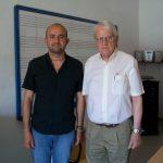 Juan Cruz-Guevara y Cristóbal Halffter, durante la impartición de un curso por parte del maestro Halffter
